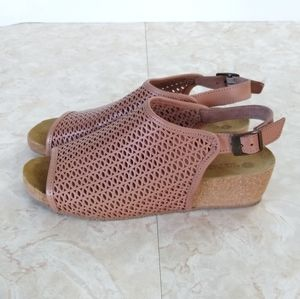 Eric Michael Blush Pink Buckle Wedge Sandals